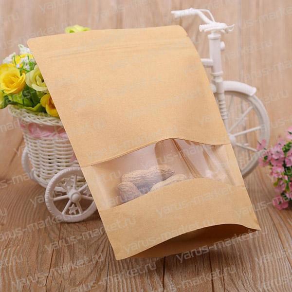 Дой-пак из крафт-бумаги с zip-lock, 13х19 см, для фасовки сухофруктов