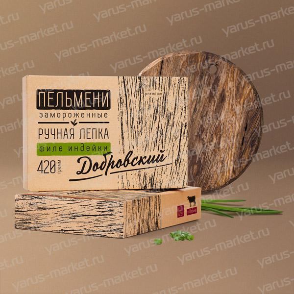 Картонная крафт-упаковка для пельменей, 175х60х105 мм., бурая
