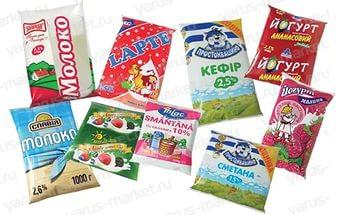 Молочная продукция в гибкой упаковке. Купить гибкую упаковку для молочной продукции оптом на сайте yarus–market.ru