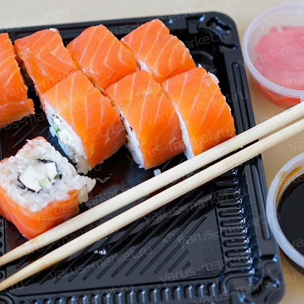 Контейнер для суши, 30х24х7 см, черный