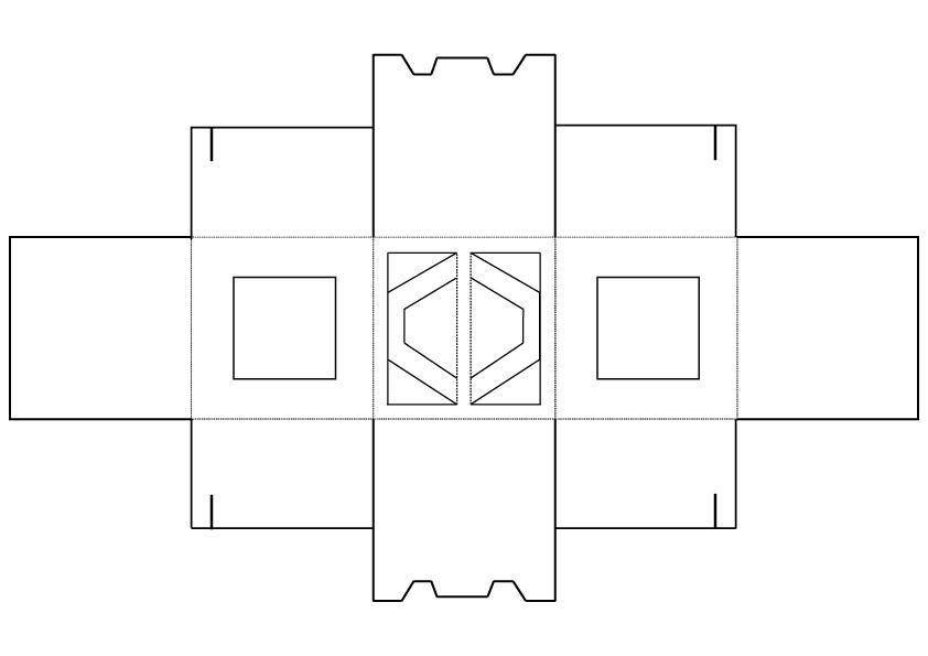 Картонная коробка 20×20×20 см для кондитерских изделий с крупными окнами