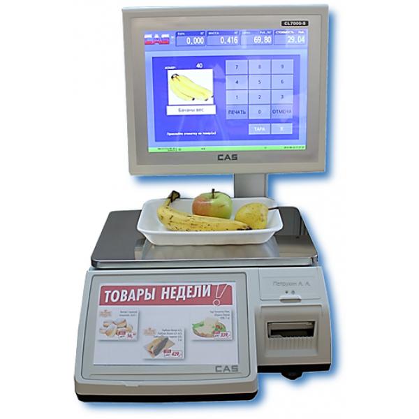 Электронные весы CAS CL-7000-15S, с печатью этикеток, торговые