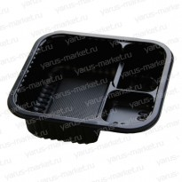 Контейнер для суши, 14,3х12,9х4,1 см., трехсекционный, черный, серый