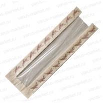 Пакет бумажный под багет с окном, 470х110х30, бурый, белый