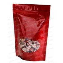 Красный дой-пак с прозрачным окошком для фасовки кофе