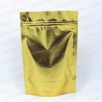 Золотой матовый дой-пак с прозрачной стороной