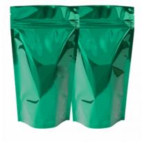 Зеленый металлизированный дой-пак с прозрачной стороной для кофе и чая