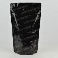 Черный металлизированный дой-пак с зиплоком для упаковки чая и кофе