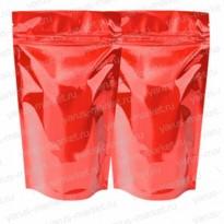 Красный металлизированный дой-пак с зиплоком 135×200+(40+40)