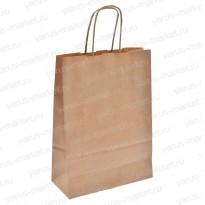 Крафт-пакет бумажный с крученой ручкой, бурый, белый, для хлеба