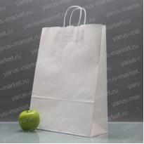 Крафт-пакет бумажный, с крученой ручкой, белый, 35х26х14