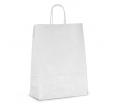 Бумажный крафт-пакет белый с крученой ручкой для готовой продукции