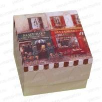 Картонная коробка 9,5*9,5*7 для кондитерских изделий с принтом