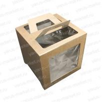 Картонная коробка 20*20*20 для кондитерских изделий с крупными окнами
