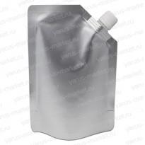 Дой-пак с дозатором, для жидкой продукции, белый, серебряный