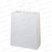 Крафт-пакет бумажный, белый, бурый, с крученой ручкой