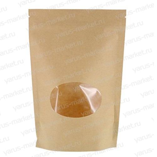 Бумажный дой-пак с круглым окошком, для кондитерской продукции