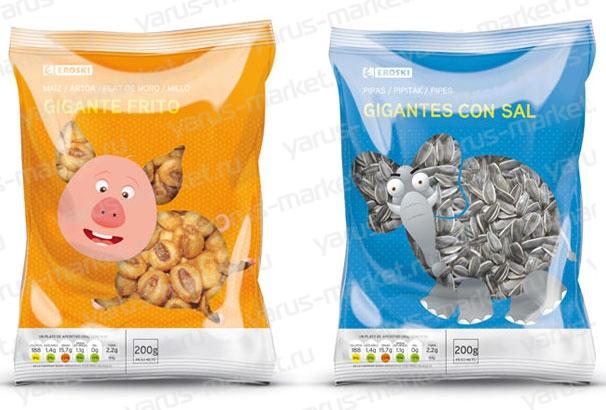 Снеки в гибкой упаковке. Заказать гибкую упаковку для снеков с печатью оптом на сайте yarus–market.ru